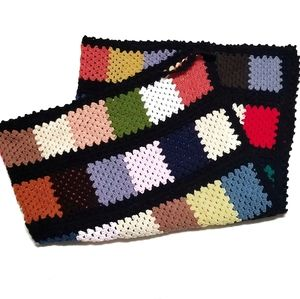 Vtg 50s Multicolor Hand Made Granny Square Blanket